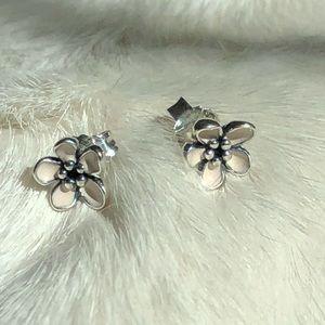 Pandora Sterling Silver Pink Enamel Stud Earrings